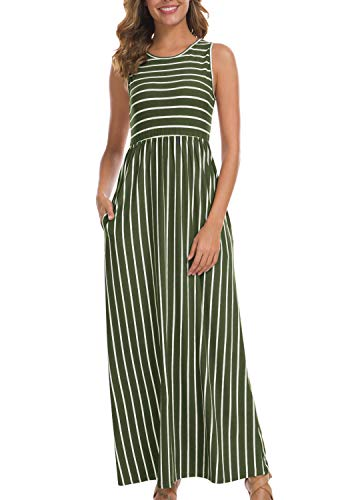 House Womens Sleeveless Dress - levaca Womens Summer Casual Striped Loose Sleeveless Flowy Long Maxi Dress Army Green XL