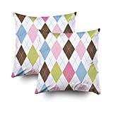 GROOTEY Decorative Cotton Square Set of 2 Pillow Case Covers Zippered Closing Home Sofa Decor Size 16X16Inch Costom Pillowcse Throw Cover Cushion,Detail grey dotted lines