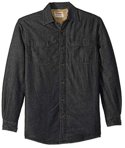 Wrangler Authentics Men's Long Sleeve Quilted Lined Flannel Shirt Jacket, Black Denim, - Lined Flannel Wrangler Jeans