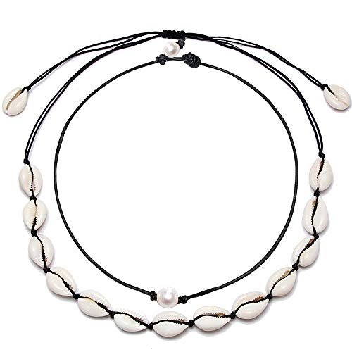 (BOMAIL Single White Pearl Choker Necklace with Three Beads Freshwater Pearls Choker Necklace on Genuine Leather Cord Knotted Jewelry for Women Girls)