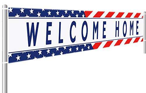 Colormoon Welcome Home Banner Military Army Theme Bunting Banner Homecoming Deployment Return Party Sign Outdoor Indoor (9.8 x 1.5 feet)
