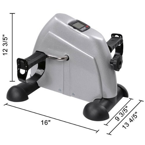 Mini Light Silver (Portable Silver Mini Arm Leg Pedal Exercise Bike: Suitable for Upper & Lower Body Lightweight 7.7 LB w/ Multi-functional LCD Monitor Displays for Physical Therapy Exerciser Personal Care Cycling)
