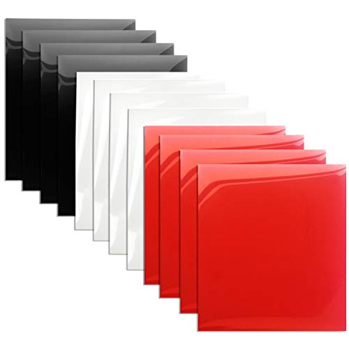 Heat Transfer Vinyl 12x12 Iron On HTV Vinyl for Tshirts 12-Pack(Black/White/Red)