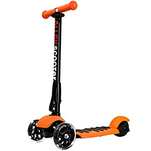 Scooters for Kids, Allek 3 Wheel Best PU Flashing Wheels Kick Scooter for Kids with Patented Folding System Best Gifts for Children from 3 to 17 Year-Old (Orange)