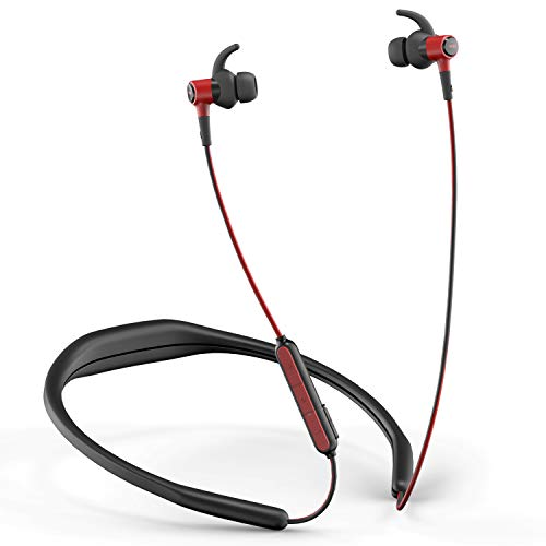 WRZ N5 Wireless Headphones Bluetooth with Microphone and Volume Control, Running Earbuds Sports Stereo Waterproof Detachable Neckband for Cellphone iOS Android Smartphone Laptop Tablet (Black Red)