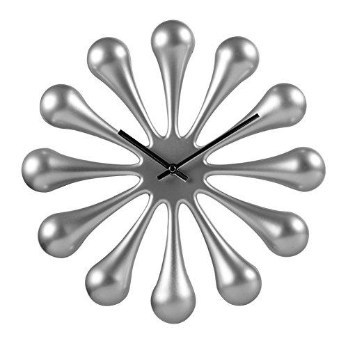 DULPLAY Creativity Quartz clock,Wall clock,Round Frameless Drop of water Silent Modern Battery operated Simple Home decorative Office -gray 14inch