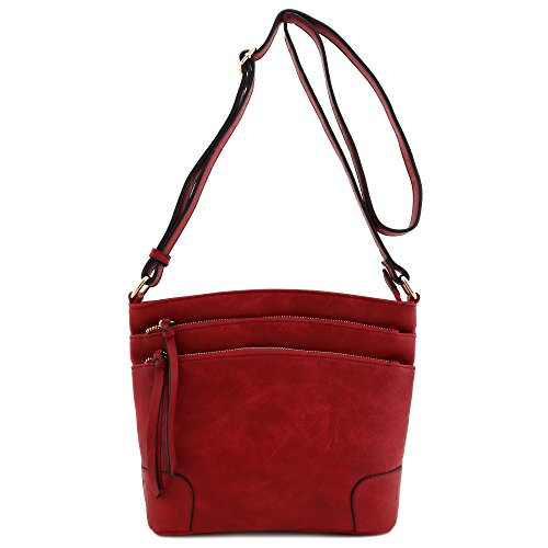 Triple Zip Pocket Medium Crossbody Bag Burgundy