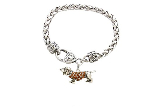 Dachshund Weenie Dog Breed Silver Brown Crystal Charm Bracelet Jewelry Gift