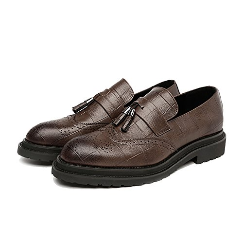 Xujw-shoes, 2018 Scarpe stringate basse, Scarpe da uomo Brogue da uomo in pelle Cuoio con nappa superiore Slip-on Wingtip Decorazione Traspirante Suola oxford (Colore : Marrone, dimensione : 43 EU) Marrone