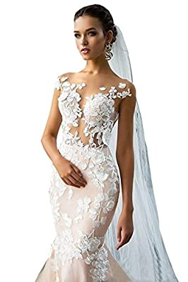 Ellystar Women's Sexy Mermaid Lace Short Sleeve Backless Bateau Bridal Dresses