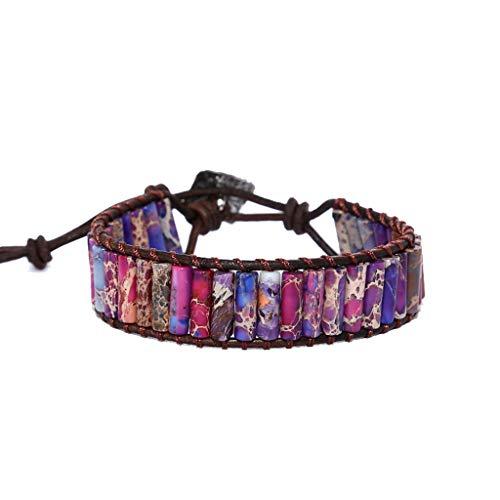 - Sinwo Creative Emperor Stone Handmade Leather Adjustable Bracelet Men and Women Bead Bracelet (Purple)