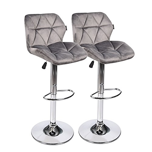 Cheap Bar Stools Modern Swive Adjustable Barstools Sets of 2 Counter Height Flannel Padded with Shell Back Home Bar Restaurant Dining Room Furniture Contemporary Hydraulic Chairs (Gray)
