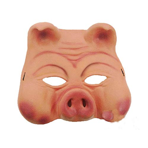 Yeefant Pig Head Mask Rubber Animal Costume Full Head Mask Halloween Costume Fancy Cute Funny Pig Face Mask Scary Horror Decor Prop 21x17cm