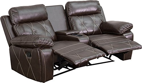 Flash Furniture 2 Seat Real Comfort Series Reclining Leather Theater Seating Unit with Curved Cup Holders, Brown