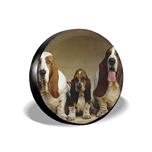 Yuotry Waterproof Tire Cover - Basset Hound Three Dogs Tire Sun Protectors Weatherproof Tire Protectors Wheel Covers for 14-17 Inch]()