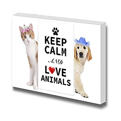Canvas Wrap Wall Art - Keep Calm and Love Animals| Modern Wall Art Stretched Canvas Prints Ready to Hang - 24