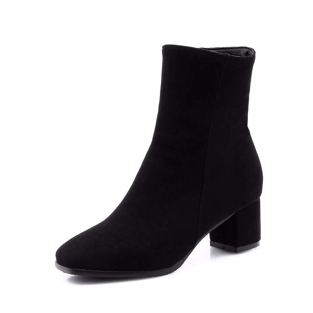 Botines de tacón Alto con Punta Cuadrada, Botines Cortos para Mujer, Negro, 44: Amazon.es: Zapatos y complementos