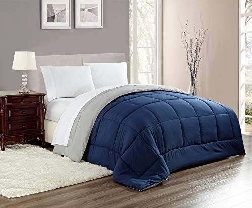 RT Designers Collection Chelsea Reversible Down Alternative Comforter in Navy/Silver, Full/Queen