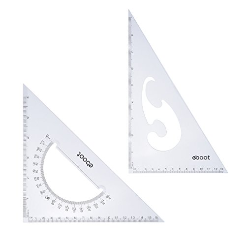 eBoot Large Triangle Ruler Square Set, 30/ 60 and 45/ 90 Degrees, Set of 2