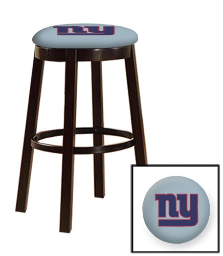New! 1 - 28'' Tall Espresso Wood and Metal Bar/Game Room/Kitchen Swivel Bar Stool with Your Choice of a Football Team Logo on a Colored Vinyl Cushion (Giants on Baby Blue)