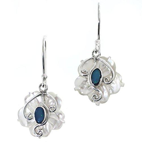 - White Mother Of Pearl Flower Shell Natural Australian Opal 925 Silver Earrings, 11/16