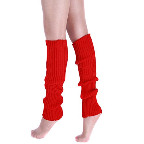 Price comparison product image Ewandastore Candy Color Women 80s Winter Leg Warmers Knitted Wool Crochet Long Boot Socks Red