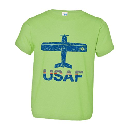PleaseMeTees Toddler Vintage Airplane Airport Fly USAF Air Force Soft HQ Tee Lime (Forces Lime Green Air)