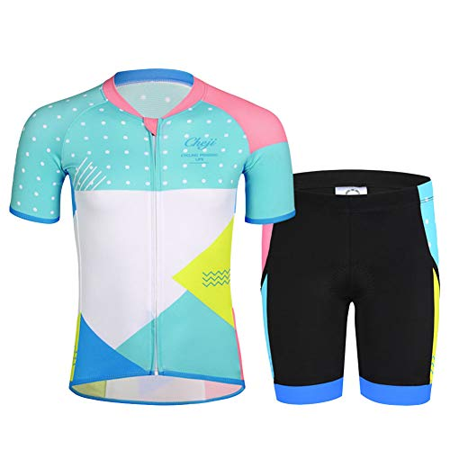 CH&Q Kids Boys Girls Cycling Jersey Set Short Sleeve Jersey Clothing Apparel Suit for Mountain Bike Road Racing Outdoor 5T Light Blue