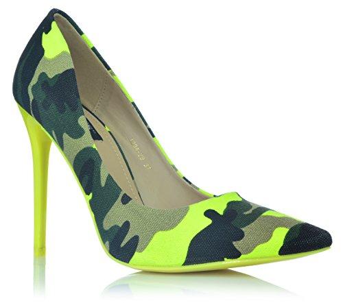 Camouflage High Heels Stiletto Pumps Neonfarben Abendschuhe Party Tarnung 35-40 Gelb