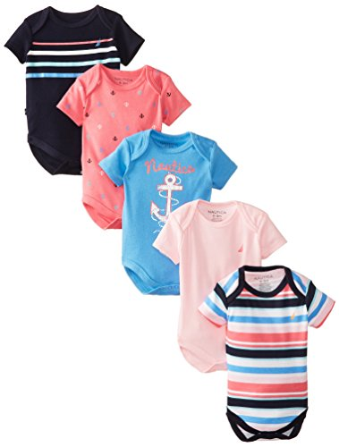 Nautica Baby-Girls Newborn Multi Pack Baby Girl Bodysuits, Assorted, 6-9 Months