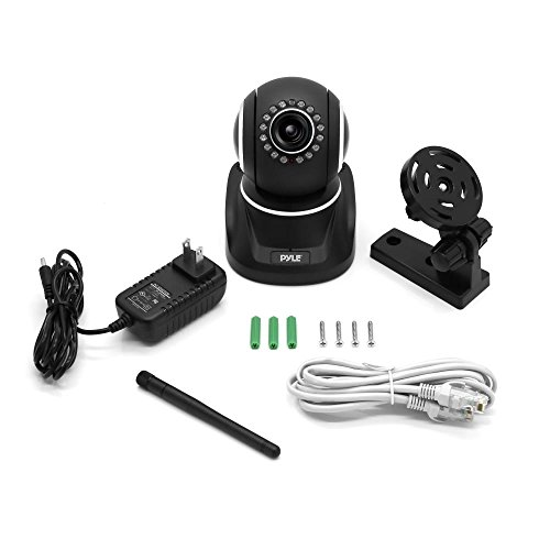 Pyle Indoor Wireless IP Camera - HD 1080p Network Security Surveillance Home Monitor System - Motion Detection, Night Vision, PTZ, 2 Way Audio, iPhone Android Mobile App - PC WiFi Access - PIPCAMHD82 (Black)