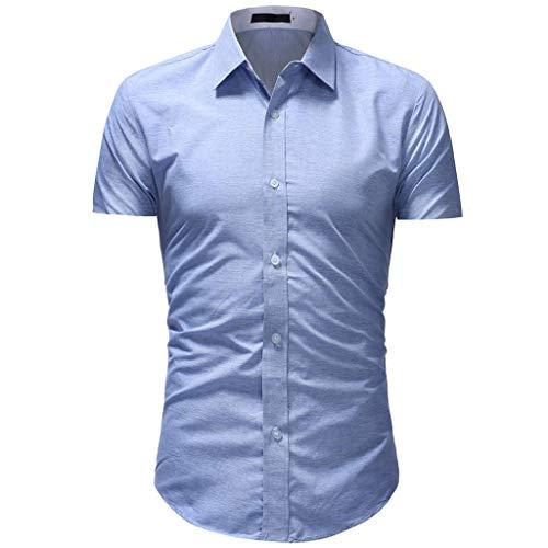 (iHPH7 Shirt Short-Sleeve Solid Casual Button Down Short Sleeve Hawaiian Shirt Top Blouse Men (L,Blue) )