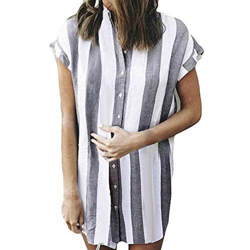 DongDong✫Stripe Fashion Button Dress,2019 Newest Womens Casual Office Short Top Dress