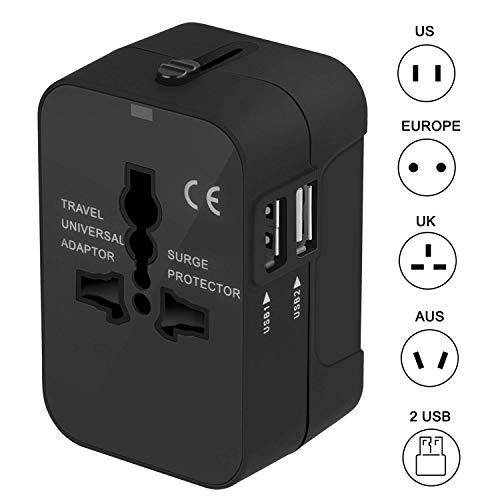 - Travel Adapter, Universal Travel Plug Adapter International All-in-one Power Plug Adapter AC Wall Outlet Charger with Dual USB Charging Ports for US EU UK AUS Asia Covers 150+ Countries (Black)