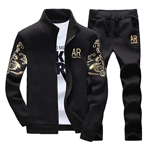 (ZHNA Mens Hoodies Casual Sweatshirts Jackets+Pants Men Tracksuit Suit Set (Grey,M))