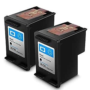 Cartucho de Tinta regenerado HP 302 HP302 XL Cartuchos de Tinta de Alto Rendimiento para HP DeskJet, HP OfficeJet y HP Envy (2 Negro)