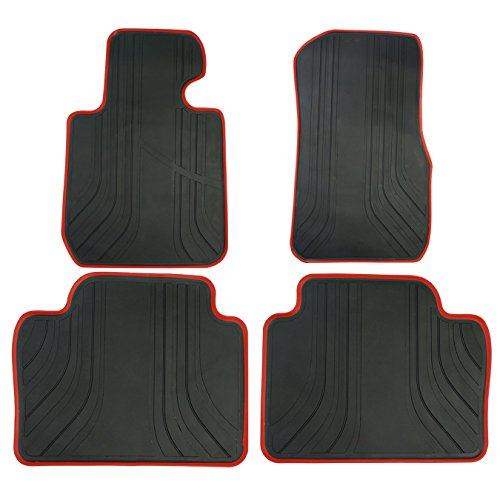 biosp Car Floor Mats for BMW 3 Series F30 320i 328i 335i 2012-2018 Front And Rear Heavy Duty Rubber Liner Set Black Red Vehicle Carpet Custom Fit-All Weather Guard Odorless (Best Looking Bmw 3 Series)