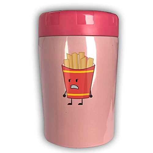 French Fries 500ML Thermos Bento, Stainless Steel Vacuum Smoldering Mug - Leak Proof Soup Jar For Portable Convenience Pink