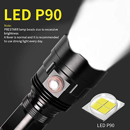 Linterna LED de carga USB 200000 l/úmenes linterna de enfoque ajustable USB LED linterna t/áctica militar potente lumen ajustable superbrillante