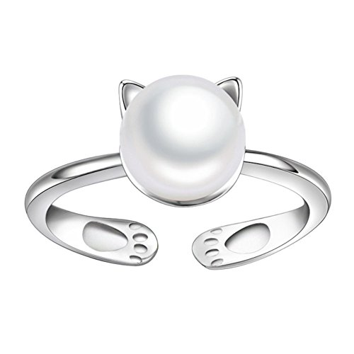 Cat Gemstone Ring - ISAACSONG.DESIGN 925 Sterling Silver Statement Adjustable Ring for Women Love Heart, Teardrop, Cat, Pearl Charms (White Pearl Lucky Cat)