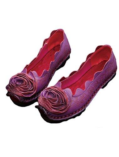 A Estate Vintage Scarpe 4 Mano Pelle Viola Primavera Fatto Vogstyle Donne Stile Fiori Yq4E1tWgT