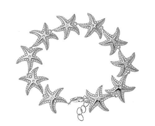 925 solid sterling silver rhodium plated Hawaiian sea starfish cz bracelet 7'' by Arthur's Jewelry