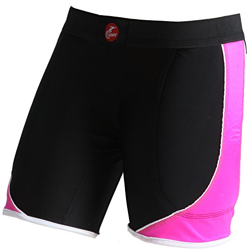 Cramer Women's Crossover Softball Compression Sliding Shorts with Foam Padding, Low-Rise 5 Inch Inseam, Support Prevents Chaffing and Injury During Activity, Black/Pink, Small