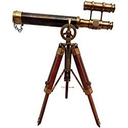 "Double Barel Victorian London (1915) 14"" Brass Telescope on Tripode Stand Antique Home Decor Table Top."