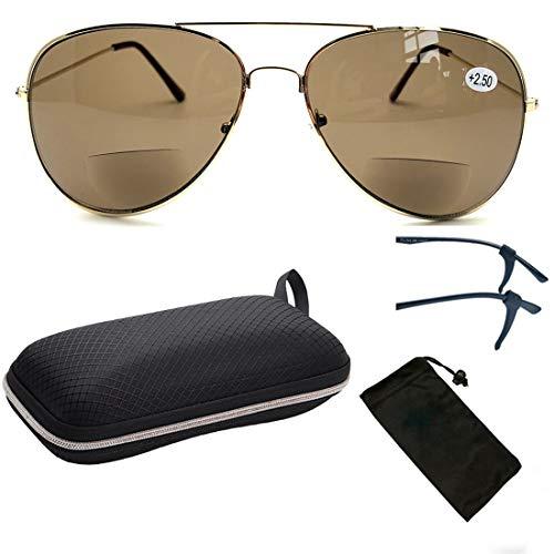 Metal Unisex Aviator Round Oval Shape Classic Reading Glasses Sun Readers (Bifocal Gold 01, - Classic Sunglasses Zoom