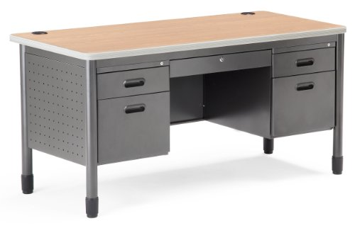 OFM Mesa Series 5-Drawer Steel Desk with Laminate Top - Durable Locking Utility Desk, Maple, 30