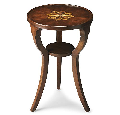 Kensington Row Furniture Collection Tables - Bridgeport Round Inlaid Accent Table - Side Table - End Table - Plantation Cherry Finish