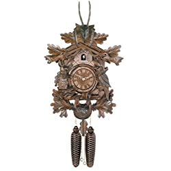 River City Clocks Eight Day Hunter's Cuckoo Clock with Hand-Carved Oak Leaves, Animals, Rifles, and Buck - 20 Inches Tall - Model # 819-20