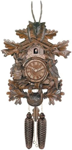 River City Clocks Eight Day Hunter s Cuckoo Clock with Hand-Carved Oak Leaves, Animals, Rifles, and Buck – 20 Inches Tall – Model 819-20