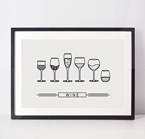 Wine Poster - Kitchen Art - Dining Room Decor - College Student Gift - Alcohol Poster - Minimal Art Print (Unframed)